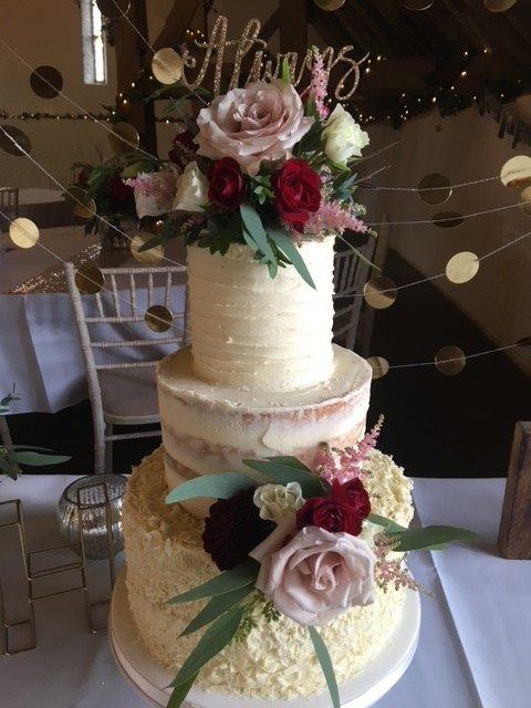 Wedding cake flowers pink and red colours