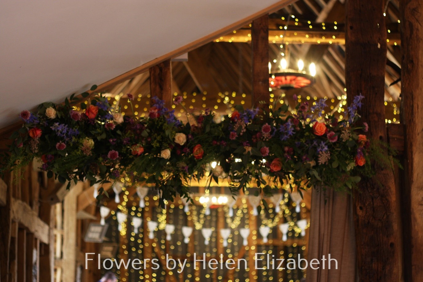 Hanging Garland from beams at Silchester Farm