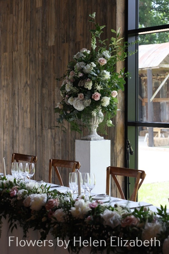 A bouquet of flowers on a table at Silchester Farm