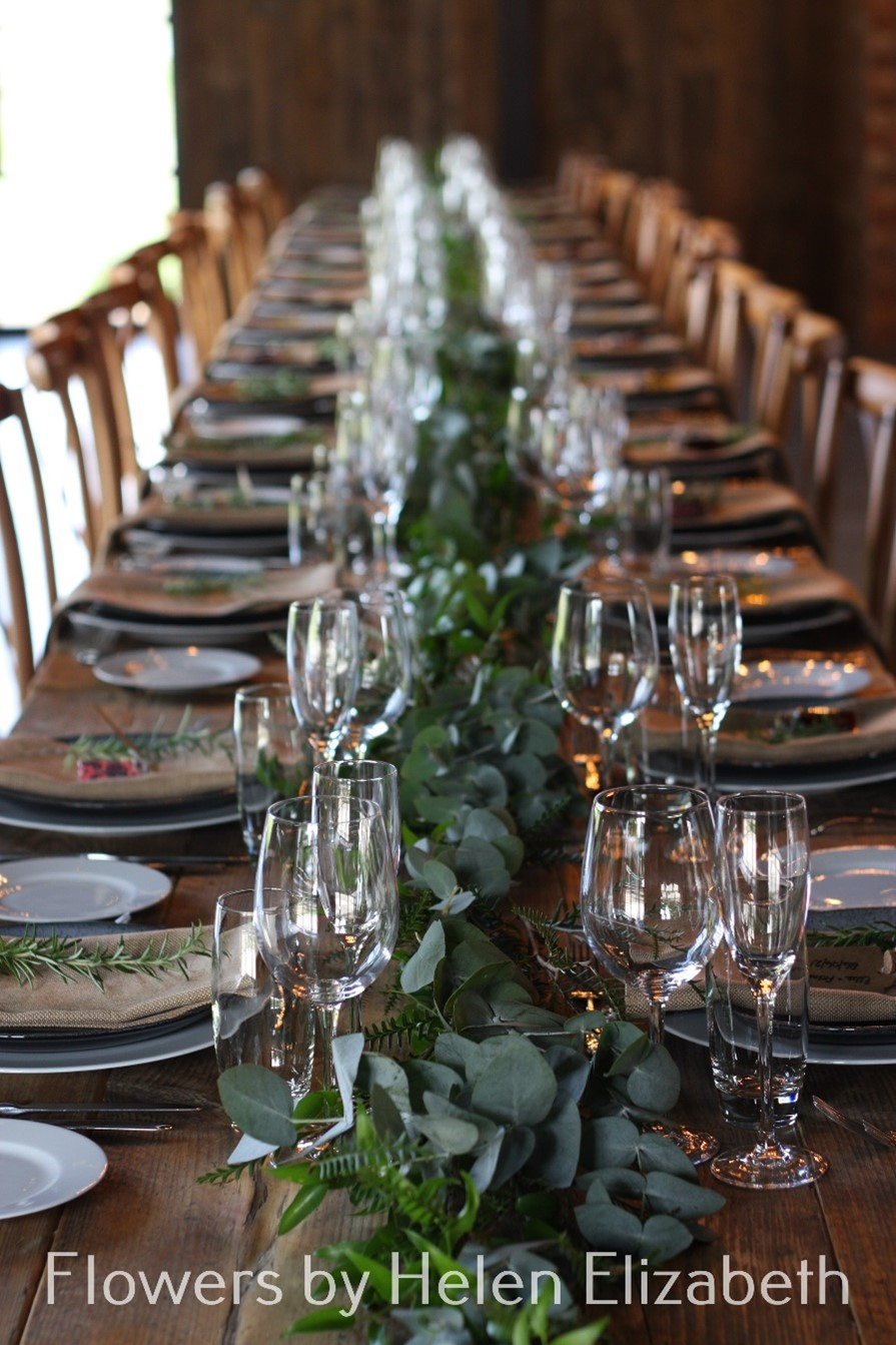 Silchester Farm wedding table decorated with garland